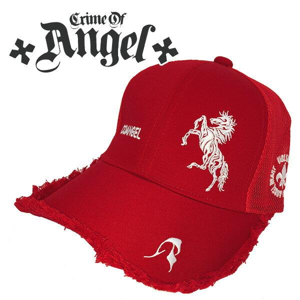 クライムオブエンジェル 帽子 キャップ赤ダメージ 跳ね馬CRIME OF ANGEL CAP COA-CAP 03 あす楽