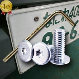 ネジ3個+レンチセット ナンバープレート 盗難・いたずら防止 スリムヘッドねじ M6×16 ステンレス