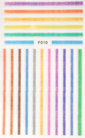 人気 ネイルシール ステッカー1枚 グリッター ライン ペイント (F010)