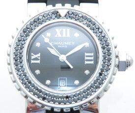 CHAUMET ショーメ クラス・ワン 622 ブラックダイヤモンドベゼル クオーツ レディース腕時計 ラバー 【205】 【中古】【大黒屋】