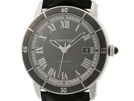Cartier カルティエ 時計 ロンド クロワジエール ドゥ カルティエ WSRN0003 自動巻き ステンレス×革 グレー文字盤 (2120000164019)【200】 【中古】【大黒屋】