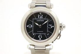 【送料無料】Cartier カルティエ 時計 パシャC W31076M7 ブラック ステンレススチール 自動巻き レディース 【203】【中古】【大黒屋】