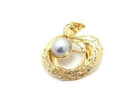 【送料無料】JEWELRY ノンブランドジュエリー デザイン ブローチ K18 パール 真珠 ダイヤモンド 0.09ct 【460】【中古】【大黒屋】