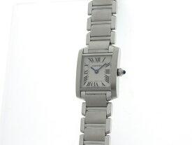 [送料無料]Cartier カルティエ 時計 タンクフランセーズSM クオーツ レディース ステンレススチール ホワイト【434】【中古】【大黒屋】