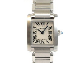 【送料無料】Cartier カルティエ 時計 ウォッチ タンクフランセーズ SM W51008Q3 ホワイト ローマン クオーツ 電池 レディース SS(ステンレス)【413】【中古】【大黒屋】