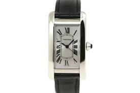 【送料無料】Cartier 時計 タンクアメリカン オートマティック 自動巻き  タンクアメリカンMM ステンレス 革 シルバー文字盤 黒ベルト WSTA0017 【433】【中古】【大黒屋】