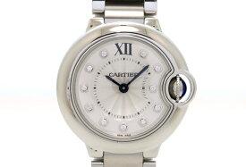 【送料無料】Cartier カルティエ 時計 バロンブルーSM レディース WE902073 シルバー文字盤 11Pダイヤ ステンレススチール クォーツ 67.5g 【205】【中古】【大黒屋】
