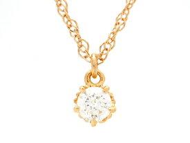 agete アガット 貴金属・宝石 ダイヤネックレス ピンクゴールド K18 ダイヤモンド 0.10ct 1.3g 【200】【中古】【大黒屋】