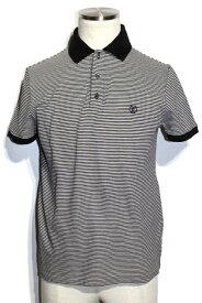 LOUIS VUITTON ルイヴィトン LV ポロシャツ メンズ XS ブラック ホワイト コットン ボーダー【200】【中古】【大黒屋】