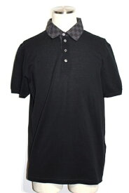 LOUIS VUITTON ルイヴィトン LV ポロシャツ メンズ L ブラック コットン ダミエ柄【200】【中古】【大黒屋】