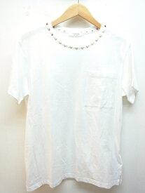 VALENTINO ヴァレンティノ Tシャツ メンズXS コットン ロックスタッズ ホワイト ゴールド 【432】【中古】【大黒屋】