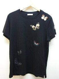 VALENTINO ヴァレンティノ Tシャツ メンズXS コットン バタフライ ブラック 【432】【中古】【大黒屋】