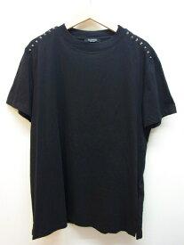 VALENTINO ヴァレンティノ Tシャツ メンズXS コットン ロックスタッズ ブラック シルバー 【432】【中古】【大黒屋】
