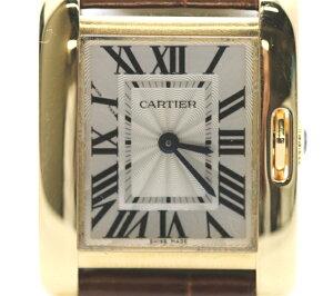 【送料無料】Cartier  時計 クオーツ  タンクアングレーズSM  レディース イエロゴールド 革ベルト シルバー文字盤 W5310028 【433】【中古】【大黒屋】