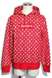 【送料無料】LOUIS VUITTON ルイヴィトン シュプリームコラボ プルオーバーパーカー Box Logo Hooded Sweatshirt メンズM コットン ボックスロゴ 2017年【432】【中古】【大黒屋】