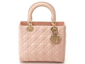 【送料無料】Dior レディーディオール カナージュ ラムスキン ピンク【472】【中古】【大黒屋】
