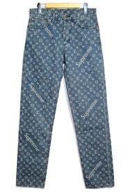 【送料無料】LOUIS VUITTON ルイヴィトン LV パンツ メンズ 29 ブルー コットン デニム シュプリームコラボ 2017年 Jacquard Denim 5-Pocket Jean【200】【中古】【大黒屋】