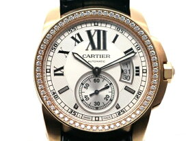 Cartier カルティエ 時計 オートマチック カリブル・ダイヤベゼル ピンクゴールド ダイヤモンド シースルーバック ローマ数字 ベルト新品 デイト表示 WM【472】【中古】【大黒屋】