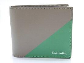 Paul Smith ポール・スミス 二つ折り財布 PSC054 カーフ グレー グリーン 【474】【中古】【大黒屋】