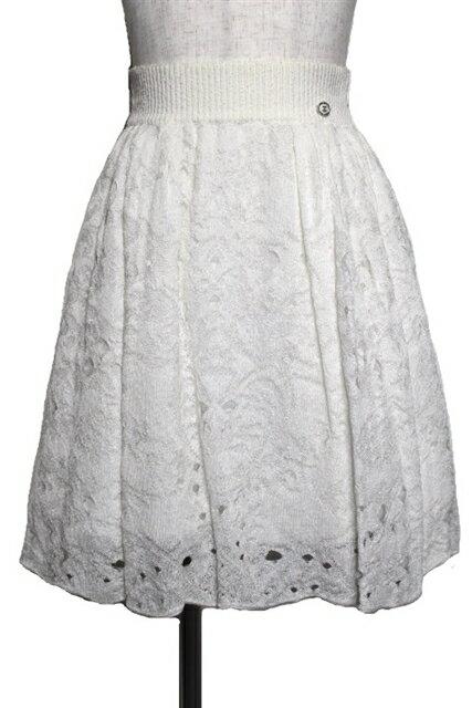 CHANEL シャネル 衣料品 衣類 スカート サイズ36 ホワイト レース レーヨン 花柄 白【432】【中古】【大黒屋】