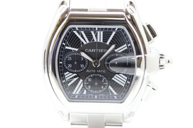 「送料無料」Cartier カルティエ SS 人気のロードスター クロノ 黒文字盤 自動巻 【412】【中古】【大黒屋】
