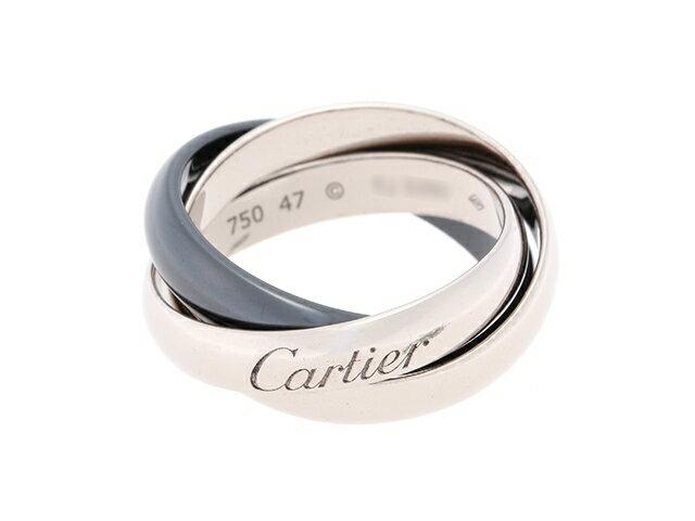 【送料無料】Cartier カルティエ 貴金属・宝石 トリニティリング リング トリニティR WG(ホワイトゴールド) SE(セラミック) 6.4g #47 【436】【中古】【大黒屋】