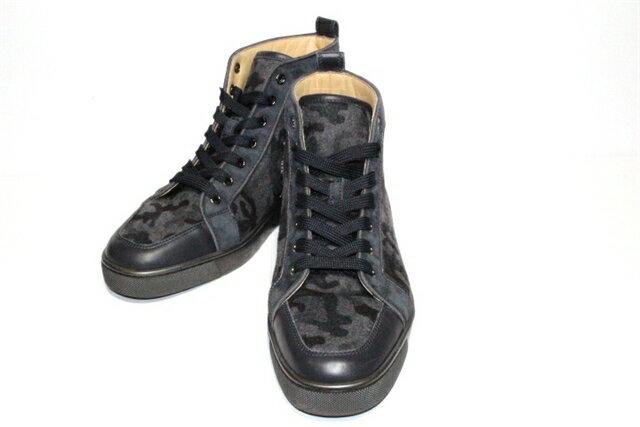 Christian Louboutin クリスチャンルブタン ベルト・くつ 靴 スニーカー サイズ41 約26cm グレー カモフラ 迷彩 ハイカット メンズ【200】【中古】【大黒屋】