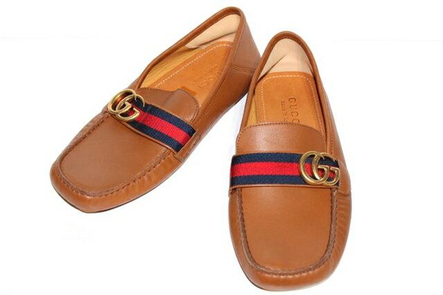 GUCCI グッチ くつ 革靴 ドライビングシューズ size7 25cm ブラウン レザーメンズ【200】【中古】【大黒屋】