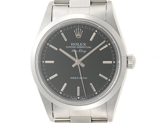 【送料無料】ROLEX ロレックス ボーイズ オートマチック エアキング 14000 ステンレススチール SS U番(約1997年) ブラック文字盤 【436】【中古】【大黒屋】