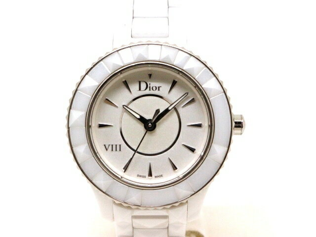 [送料無料]Dior ディオール 時計 ユイット セラミック ステンレススチール ホワイト CD123E2 クォーツ 【203】【中古】【大黒屋】
