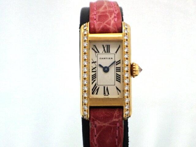 【送料無料】Cartier カルティエ 時計 タンクアロンジェ YG/革 ダイヤベゼル 電池式【471】【中古】【大黒屋】