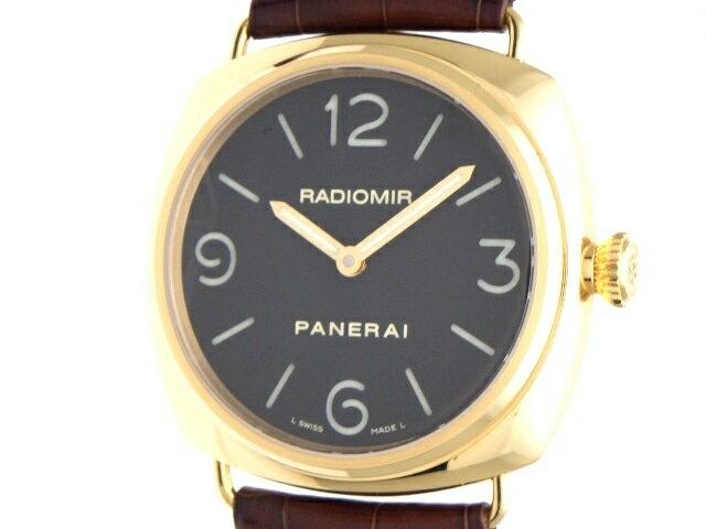 [送料無料]PANERAI パネライ ラジオミール PAM00231 ピンクゴールド レザー ブラック 手巻き メンズ 腕時計 【200】【中古】【大黒屋】