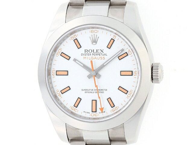 [送料無料]ROLEX ロレックス ミルガウス 116400 SS ホワイト文字盤 M番 【433】【中古】【大黒屋】