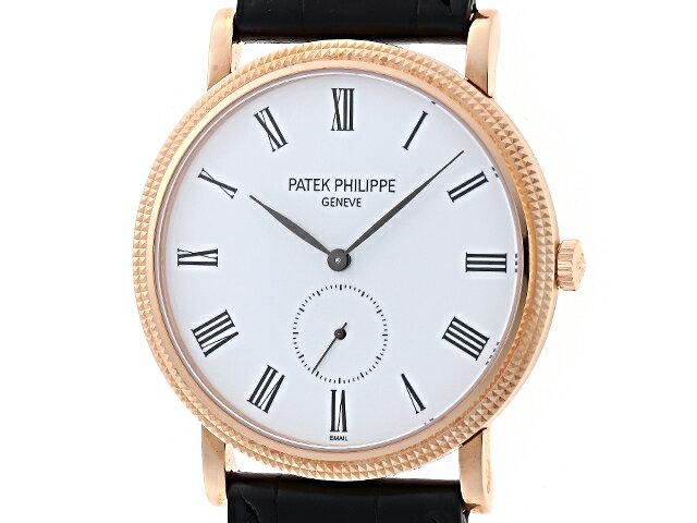 【送料無料】PATEK PHILIPPE パテックフィリップ カラトラバ 5119R-001 ローズゴールド ホワイト 手巻き式腕時計 【437】【中古】【大黒屋】