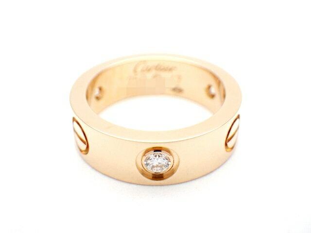 [送料無料]Cartier カルティエ ラブリング B4087547 ハーフダイヤモンド 3PD ピンクゴールド K18 7号 【437】【中古】【大黒屋】