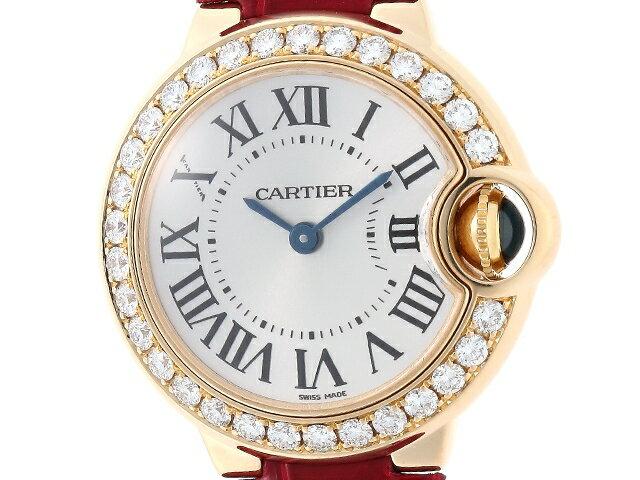 [送料無料]Cartier バロン ブルー ドゥ カルティエ SM イエローゴールド ダイヤベゼル アリゲーターストラップ クオーツ WE900151 【437】【中古】【大黒屋】