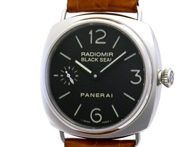 [送料無料]PANERAI パネライ ラジオミール ブラックシール45mm PAM00183 SS/革 男性用手巻き時計【473】【中古】【大黒屋】