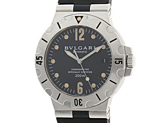 【送料無料】BVLGARI ブルガリ 時計 スクーバ SD38S SS/ラバー 黒文字盤 ブラック 【472】【中古】【大黒屋】