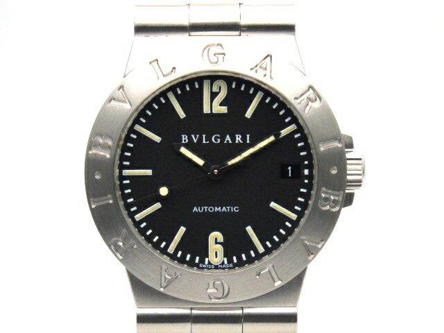[送料無料]BVLGARI ブルガリ 時計 LCV35S ディアゴノスポーツ SS オートマチック 黒文字盤 デイト メンズ 【438】【中古】【大黒屋】
