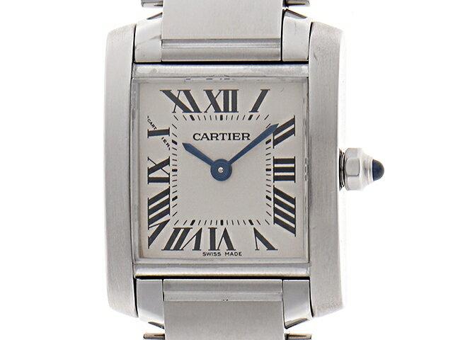 [送料無料]Cartier カルティエ 時計 クオーツ タンクフランセーズSM SS ホワイト文字盤 レディース W51008Q3 【470】【中古】【大黒屋】