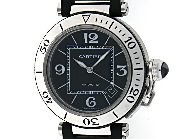 Cartier カルティエ 時計 パシャ シータイマー オートマチック パシャ ブラック【434】【中古】【大黒屋】