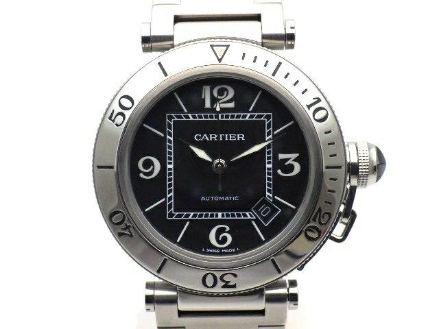 【送料無料】Cartier カルティエ 時計 パシャ シータイマー オートマチック W31077M7 SS ブラック メンズ 【438】【中古】【大黒屋】