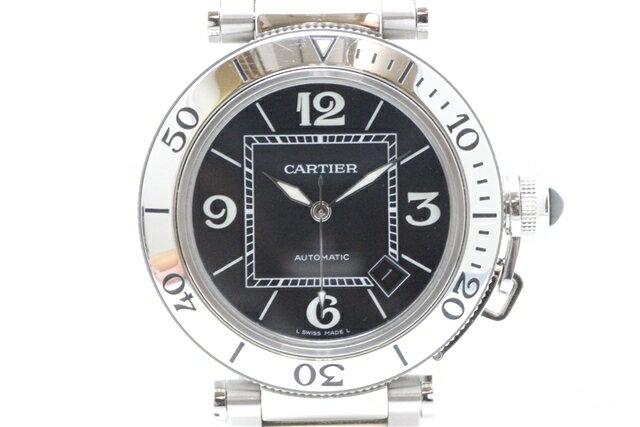 【送料無料】Cartier カルティエ メンズ 時計 パシャ シータイマー 自動巻き ステンレス ブラック W31077M7【411】【中古】【大黒屋】