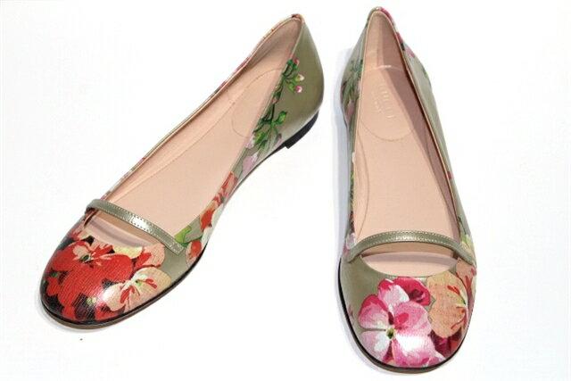 GUCCI グッチ パンプス フラットシューズ Blooms leather flat レディース35ハーフ ピンク レザー 【472】【中古】【大黒屋】