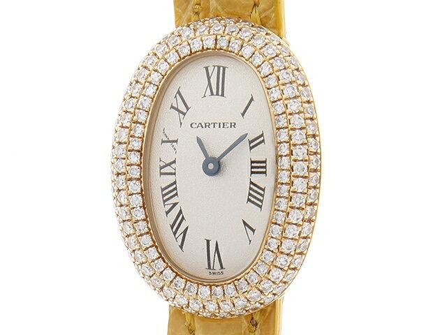 【送料無料】Cartier 時計  ミニベニュワール  クオーツ  K18YG×ダイヤモンド 【433】【中古】【大黒屋】