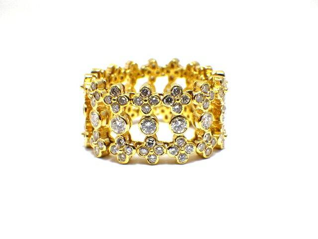 【送料無料】Ponte Vecchio ポンテヴェキオ イエローゴールド ダイヤモンド リング K18 D3.40 11.4g 23号【430】【中古】【大黒屋】
