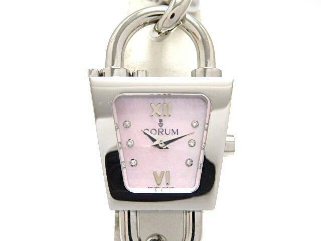 [送料無料]CORUM コルム パドロックチェーン 女性用腕時計 ステンレス ピンクシェル 137.414.20 【474】【中古】【大黒屋】