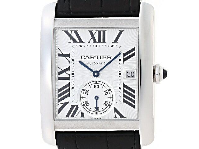 【送料無料】Cartier カルティエ タンクMC W5330003 シルバー文字盤 ステンレス/革 オートマチック【204】【中古】【大黒屋】