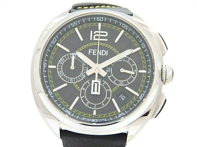 [送料無料]FENDI フェンディ 時計 23000L クロノグラフ ステンレス 革 クオーツ ブラック 【474】【中古】【大黒屋】