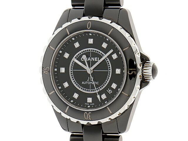 【送料無料】CHANEL シャネル 時計 J12 H1626 自動巻き 黒 ブラック 12ポイントダイヤ 新型 【472】【中古】【大黒屋】